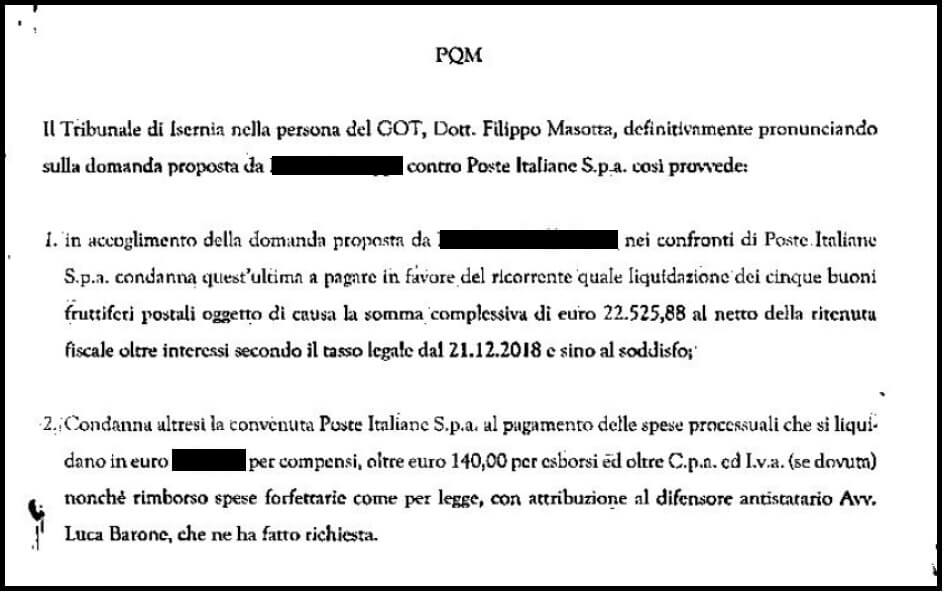 Tribunale condanna Poste Serie Q/P